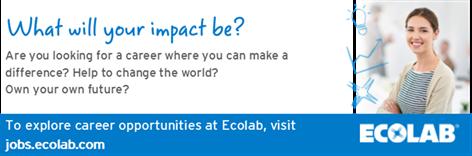 Διαθέσιμη θέση εργασίας ή/και πρακτικής άσκησης στην εταιρεία Ecolab για Χημικούς Μηχανικούς/ Μηχανολόγους Μηχανικούς/ Χημικούς/ Τεχνολόγους Τροφίμων / Μηχ. Πετρελαίου.